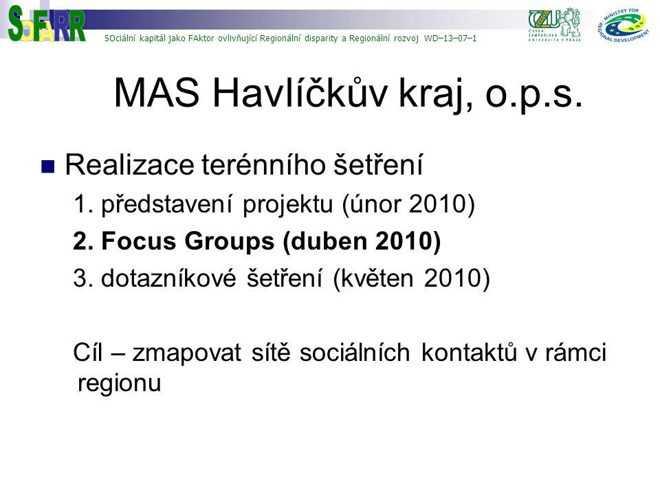 MAS Havlíčkův kraj, o.p.s. O A R S F Realizace terénního šetření