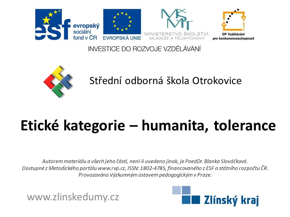 Etické kategorie – humanita, tolerance