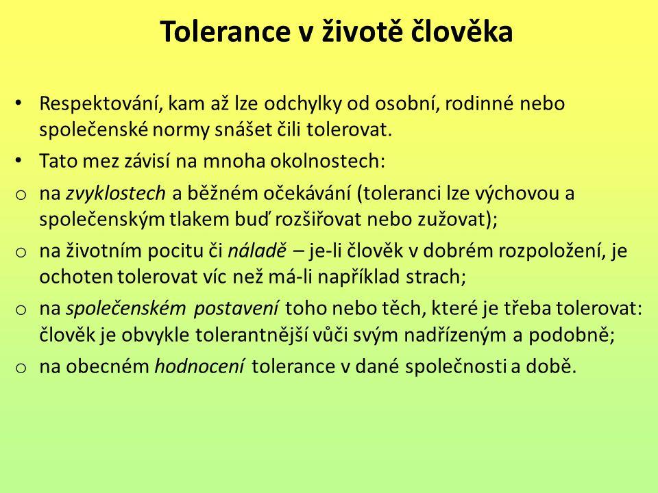 Tolerance v životě člověka
