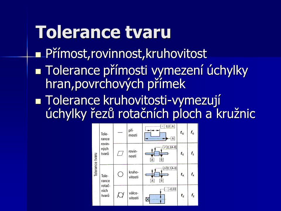 Tolerance tvaru Přímost,rovinnost,kruhovitost