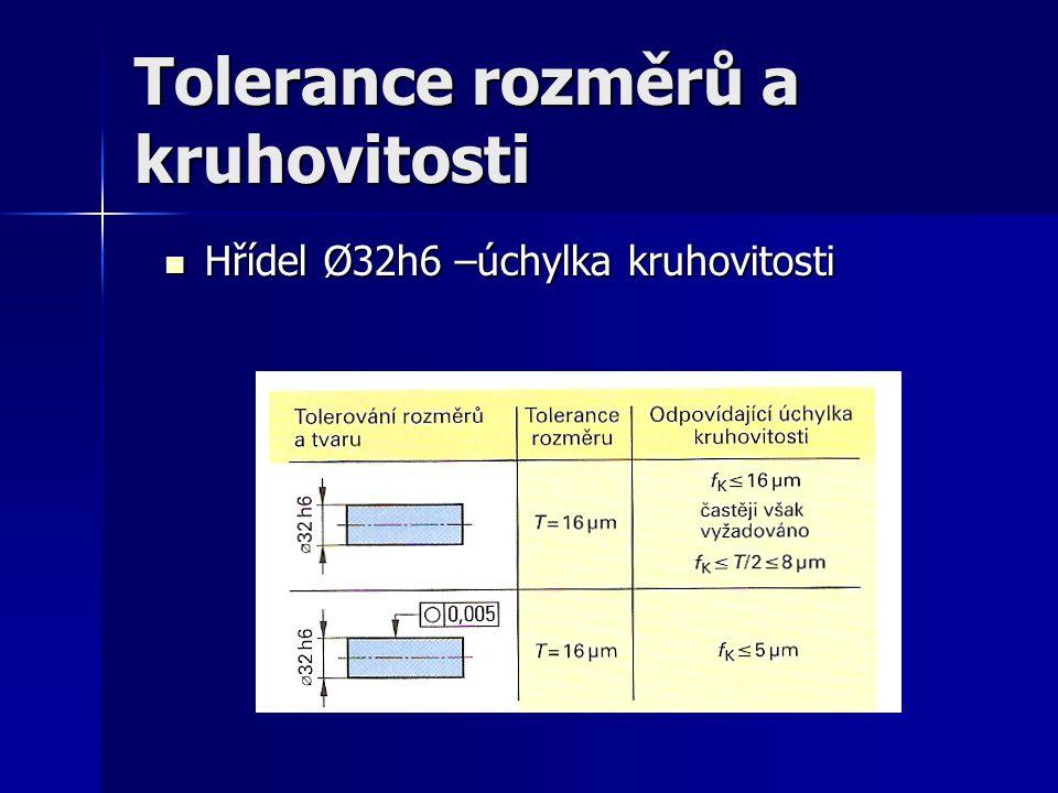 Tolerance rozměrů a kruhovitosti