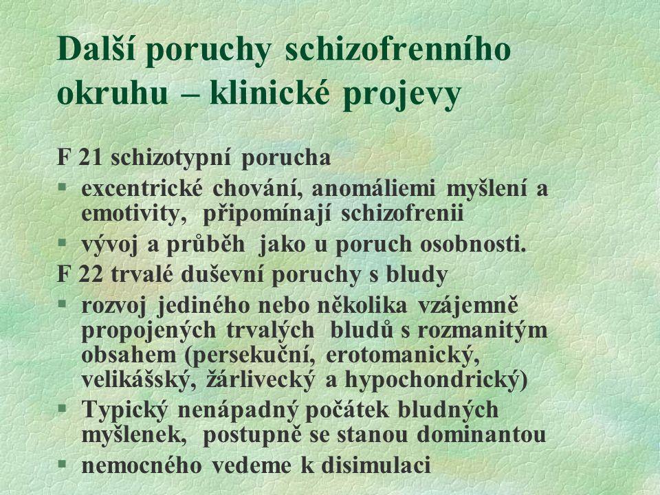Další poruchy schizofrenního okruhu – klinické projevy