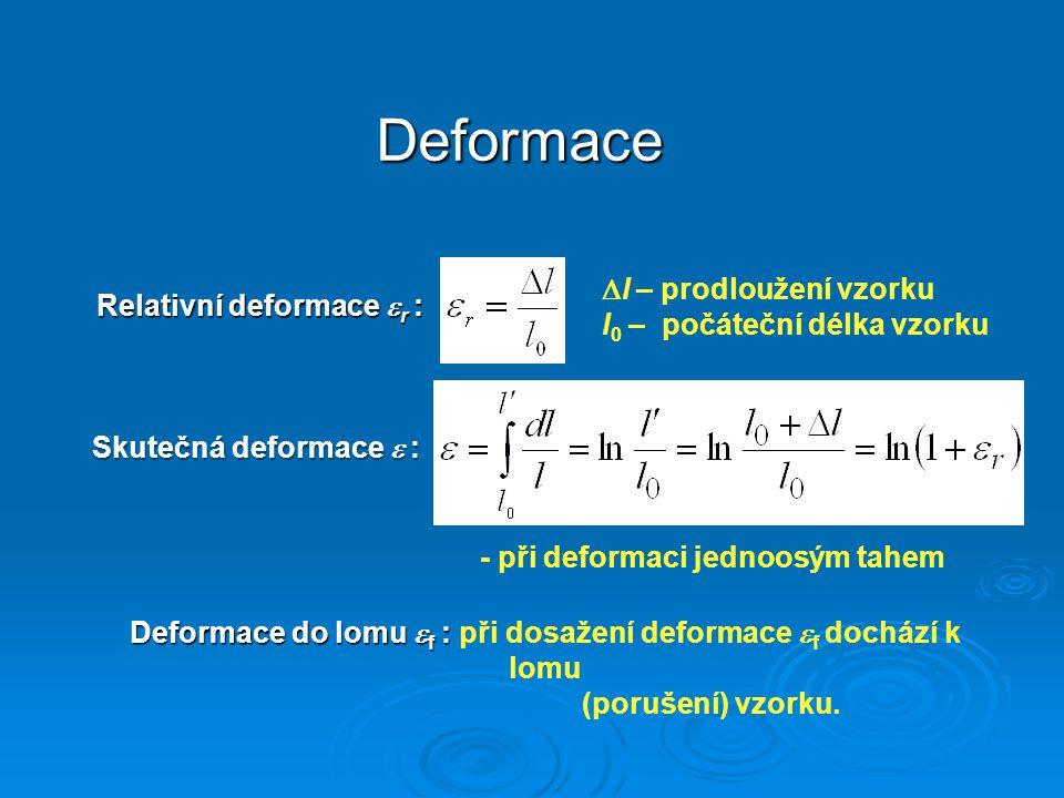 Relativní deformace r : - při deformaci jednoosým tahem