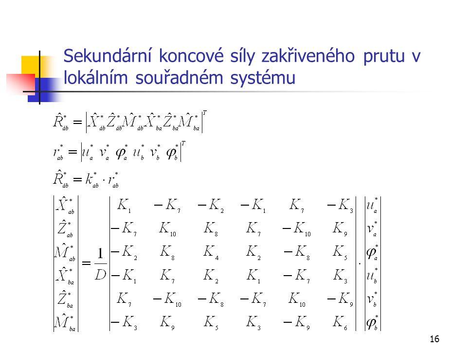 Sekundární koncové síly zakřiveného prutu v lokálním souřadném systému