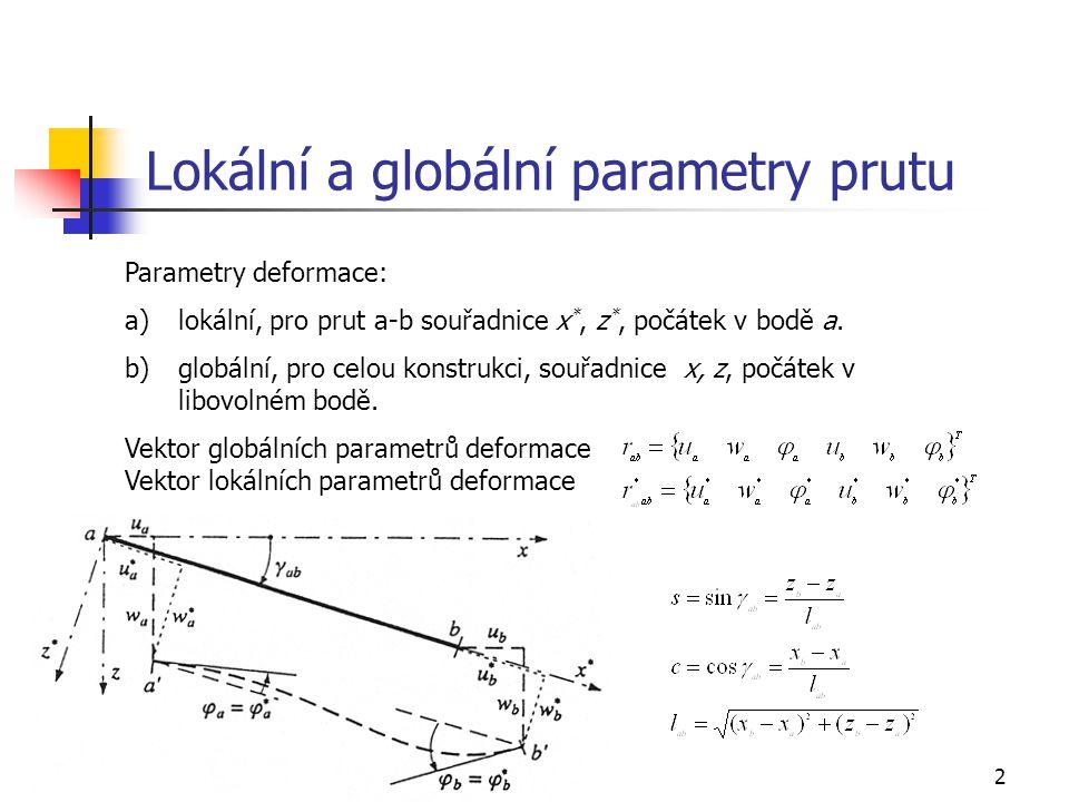 Lokální a globální parametry prutu