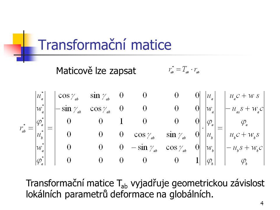 Transformační matice Maticově lze zapsat