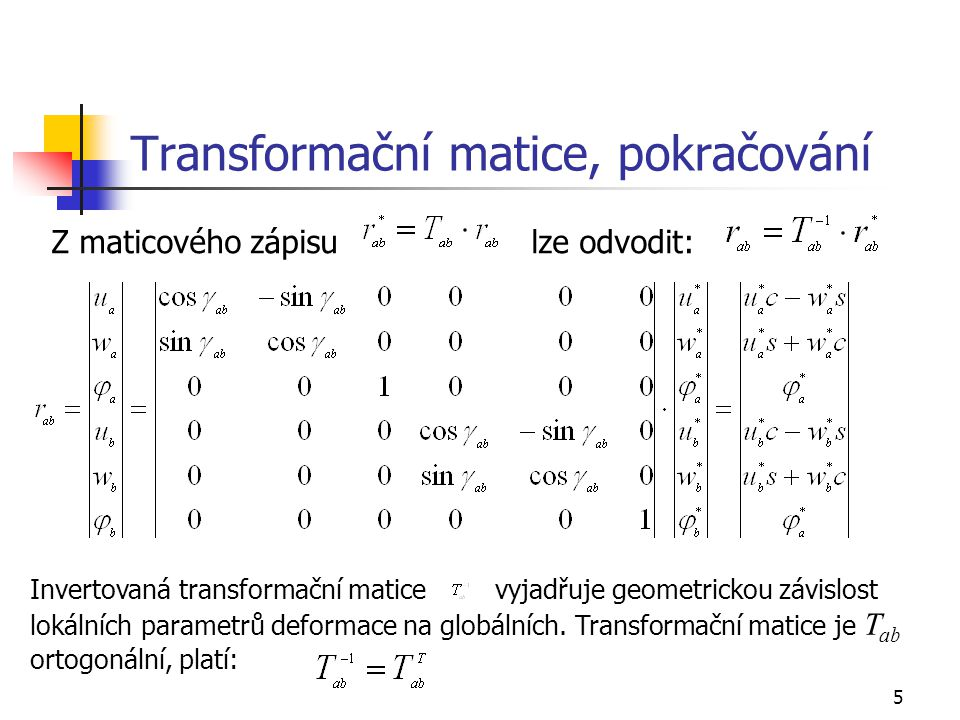 Transformační matice, pokračování