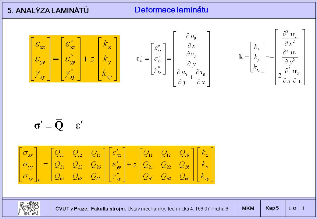 Deformace laminátu 5. ANALÝZA LAMINÁTŮ