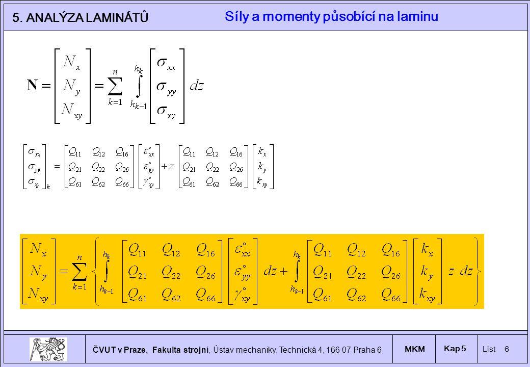 Síly a momenty působící na laminu