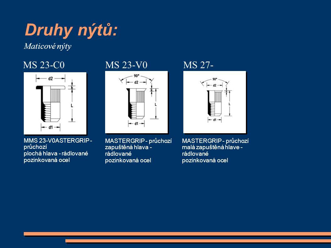 Druhy nýtů: MS 23-C0 MS 23-V0 MS 27-V0 Maticové nýty