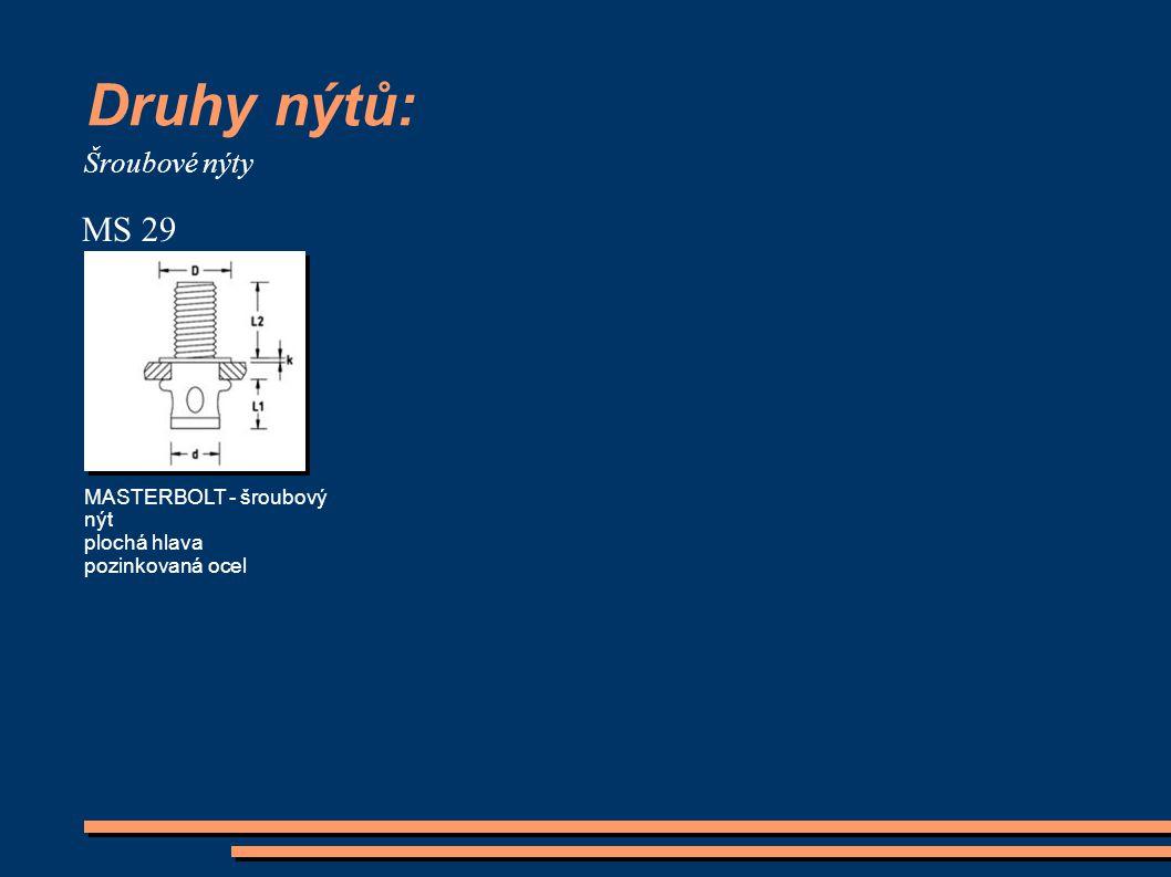 Druhy nýtů: MS 29 Šroubové nýty MASTERBOLT - šroubový nýt plochá hlava