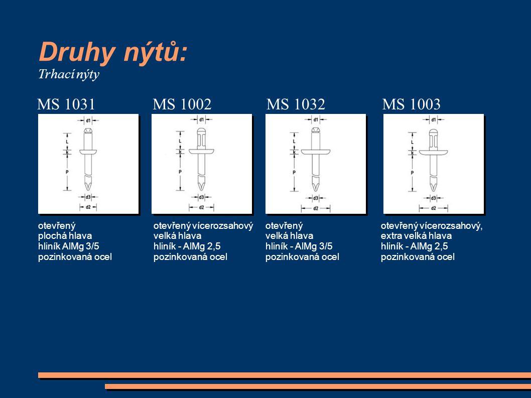 Druhy nýtů: MS 1031 MS 1002 MS 1032 MS 1003 Trhací nýty otevřený