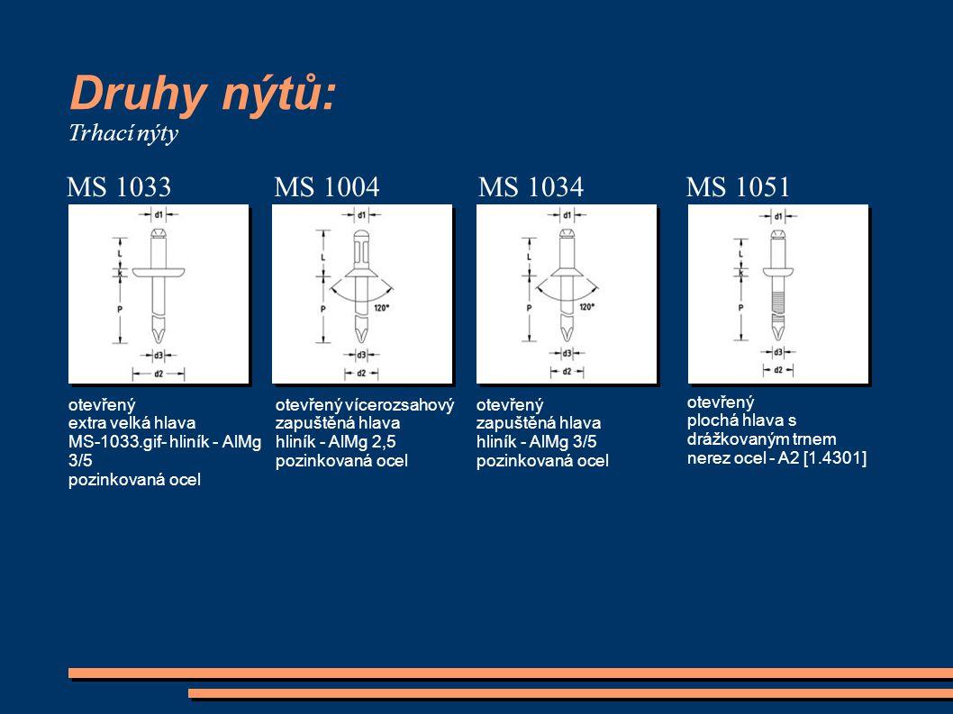 Druhy nýtů: MS 1033 MS 1004 MS 1034 MS 1051 Trhací nýty otevřený