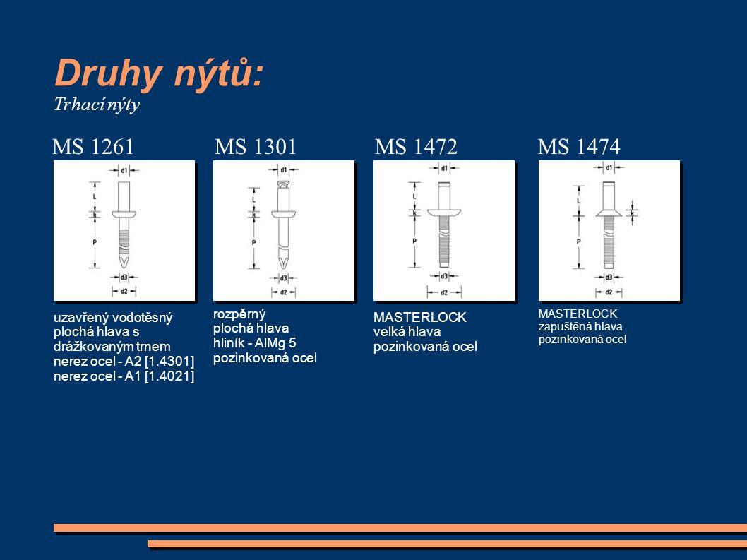 Druhy nýtů: MS 1261 MS 1301 MS 1472 MS 1474 Trhací nýty rozpěrný