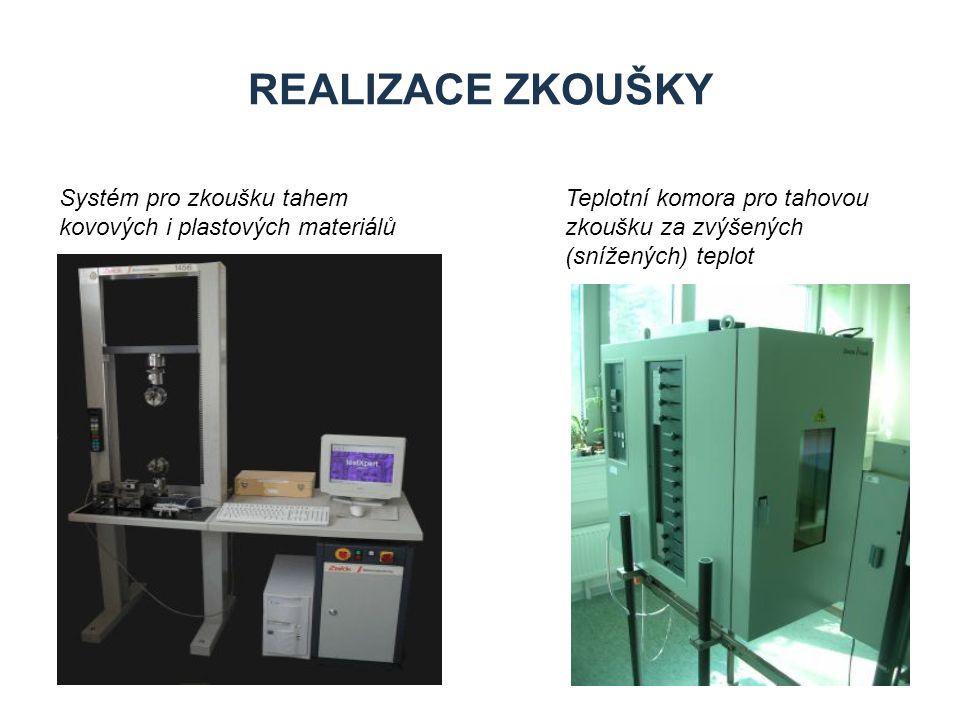 Realizace zkoušky Systém pro zkoušku tahem kovových i plastových materiálů.