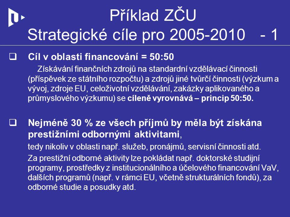Příklad ZČU Strategické cíle pro 2005-2010 - 1