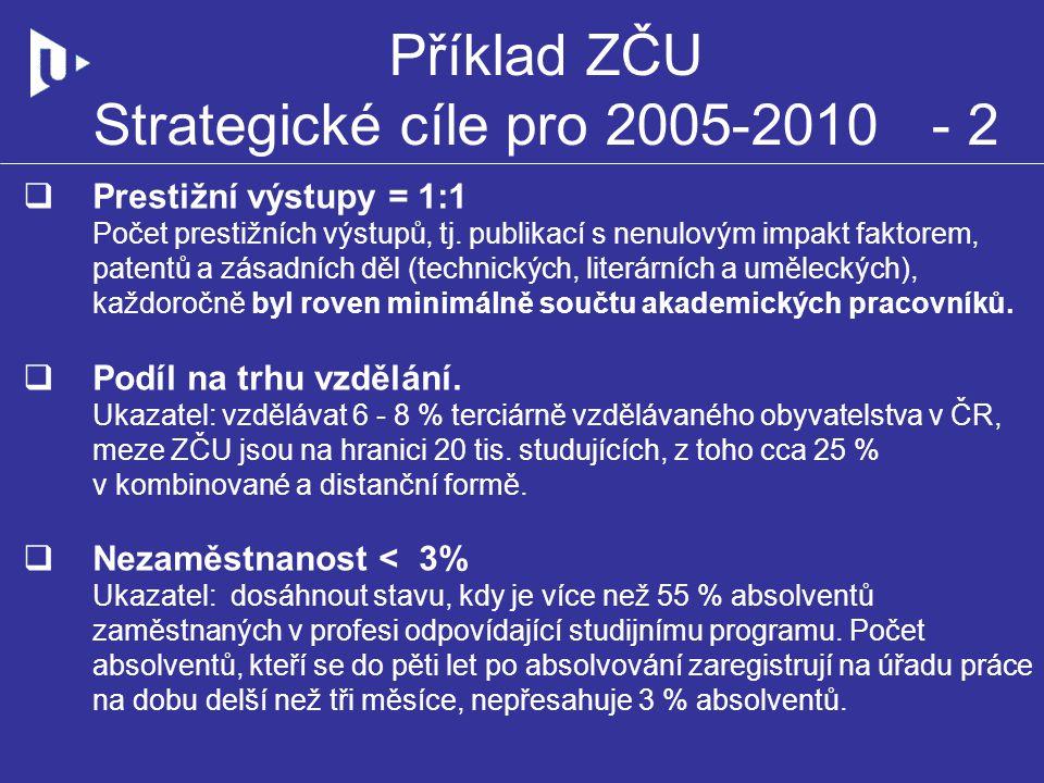 Příklad ZČU Strategické cíle pro 2005-2010 - 2