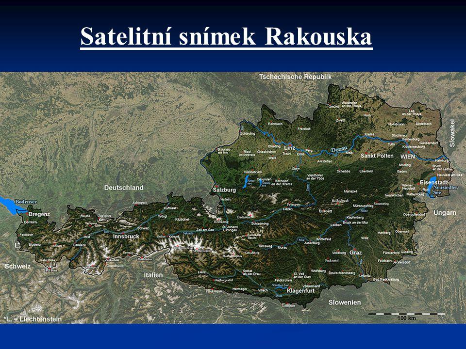 Satelitní snímek Rakouska