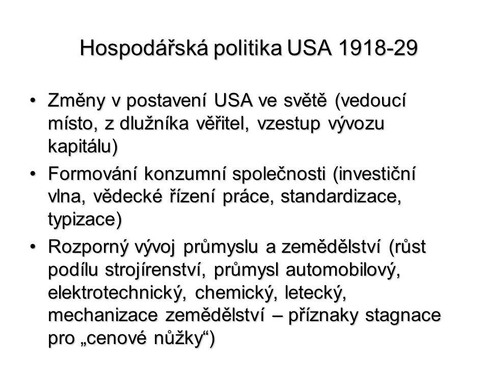 Hospodářská politika USA 1918-29
