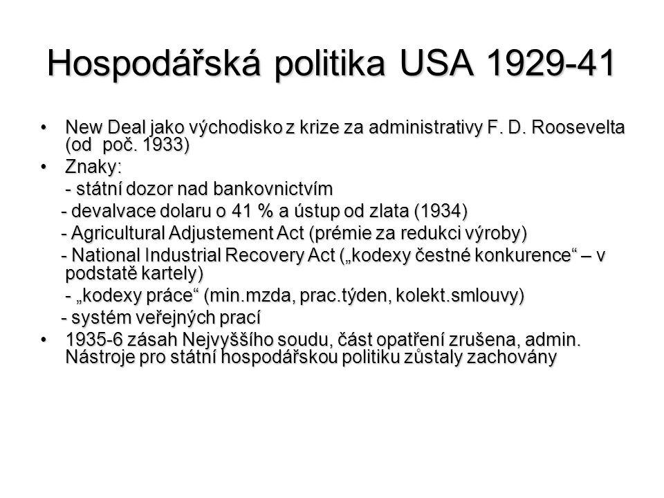 Hospodářská politika USA 1929-41
