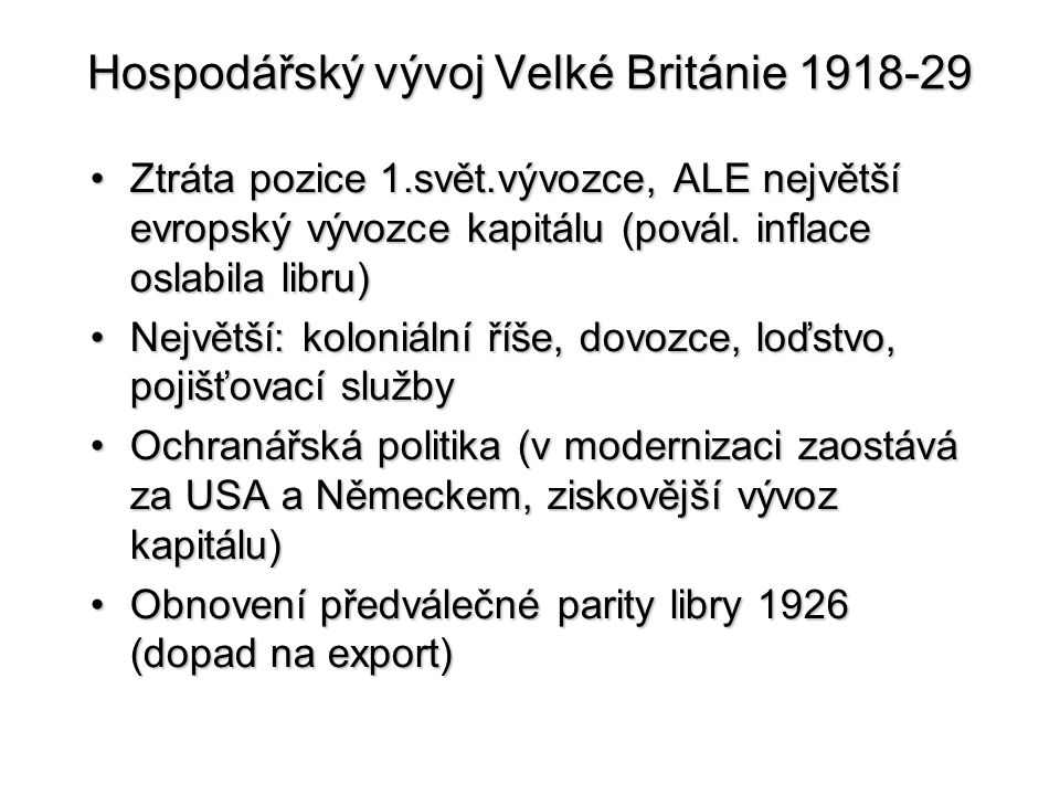 Hospodářský vývoj Velké Británie 1918-29