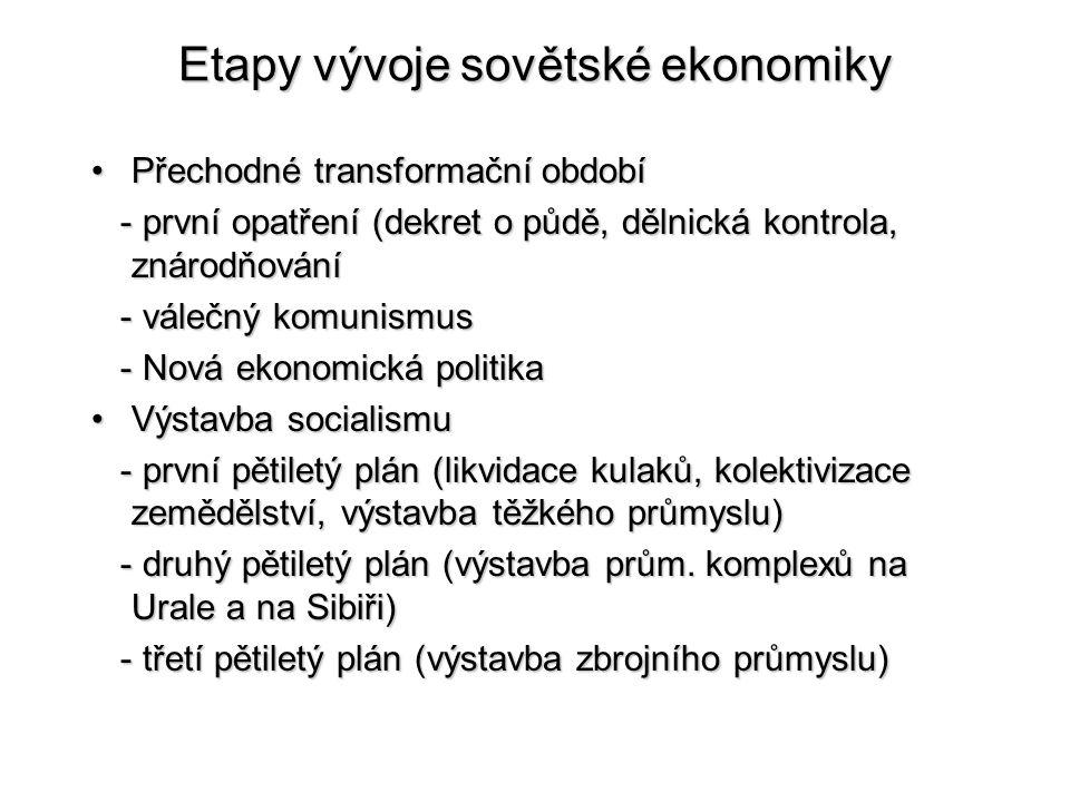 Etapy vývoje sovětské ekonomiky