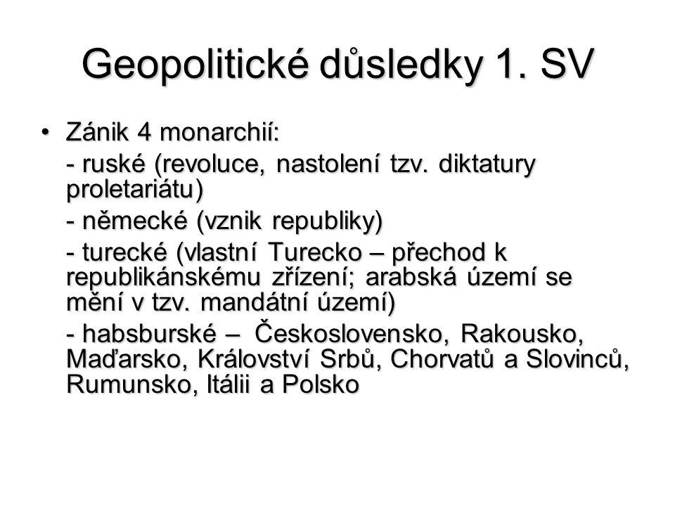 Geopolitické důsledky 1. SV