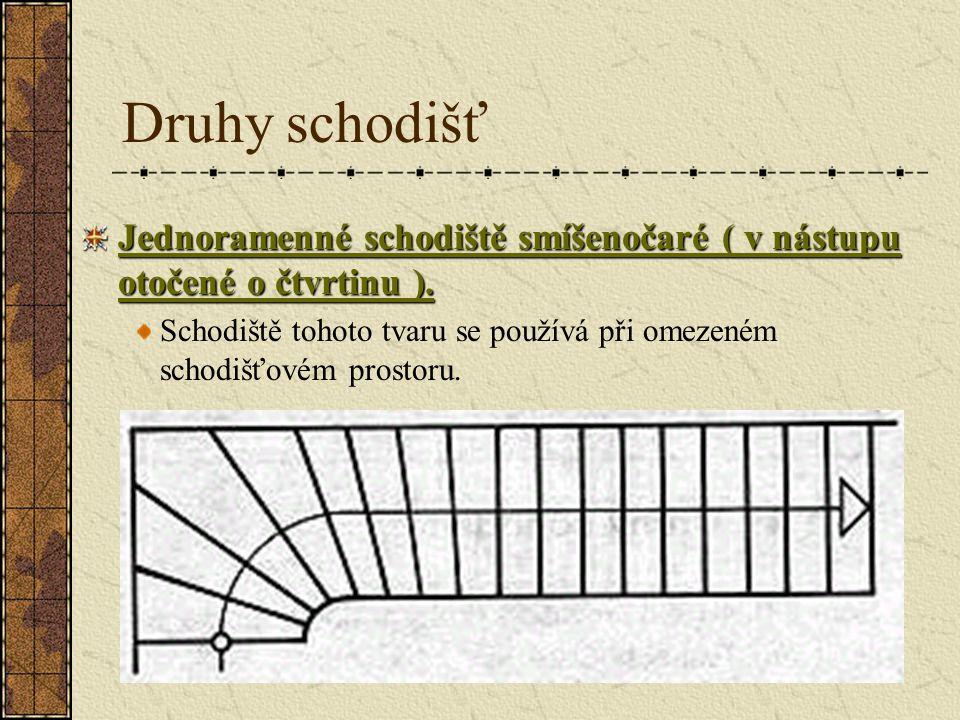 Druhy schodišť Jednoramenné schodiště smíšenočaré ( v nástupu otočené o čtvrtinu ).