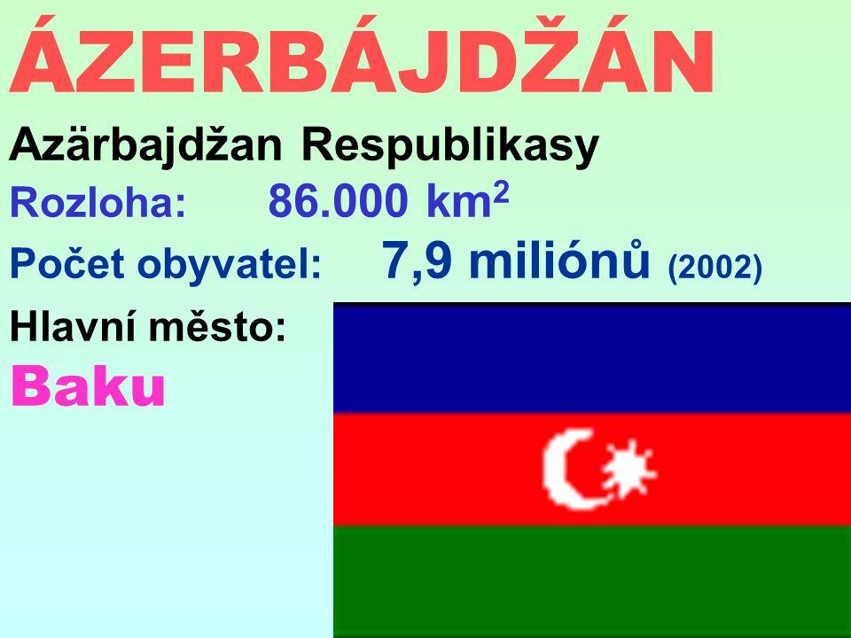 ÁZERBÁJDŽÁN Azärbajdžan Respublikasy Rozloha: 86