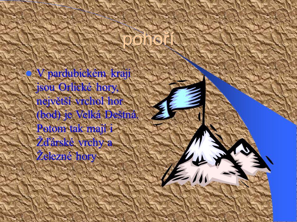 pohoří V pardubickém kraji jsou Orlické hory, největší vrchol hor (bod) je Velká Deštná.