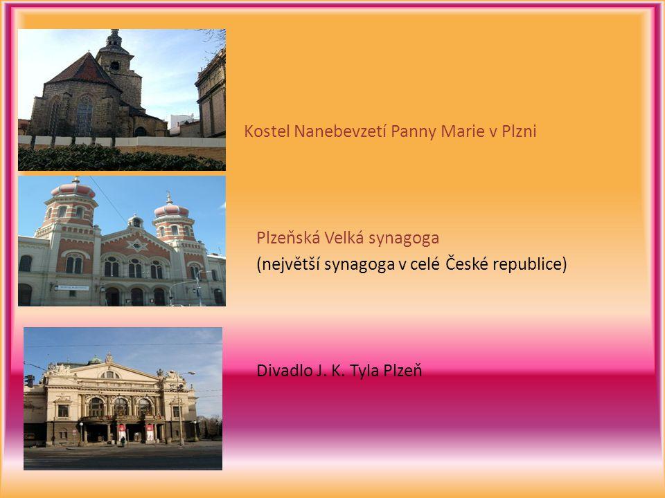 Kostel Nanebevzetí Panny Marie v Plzni Plzeňská Velká synagoga (největší synagoga v celé České republice) Divadlo J.