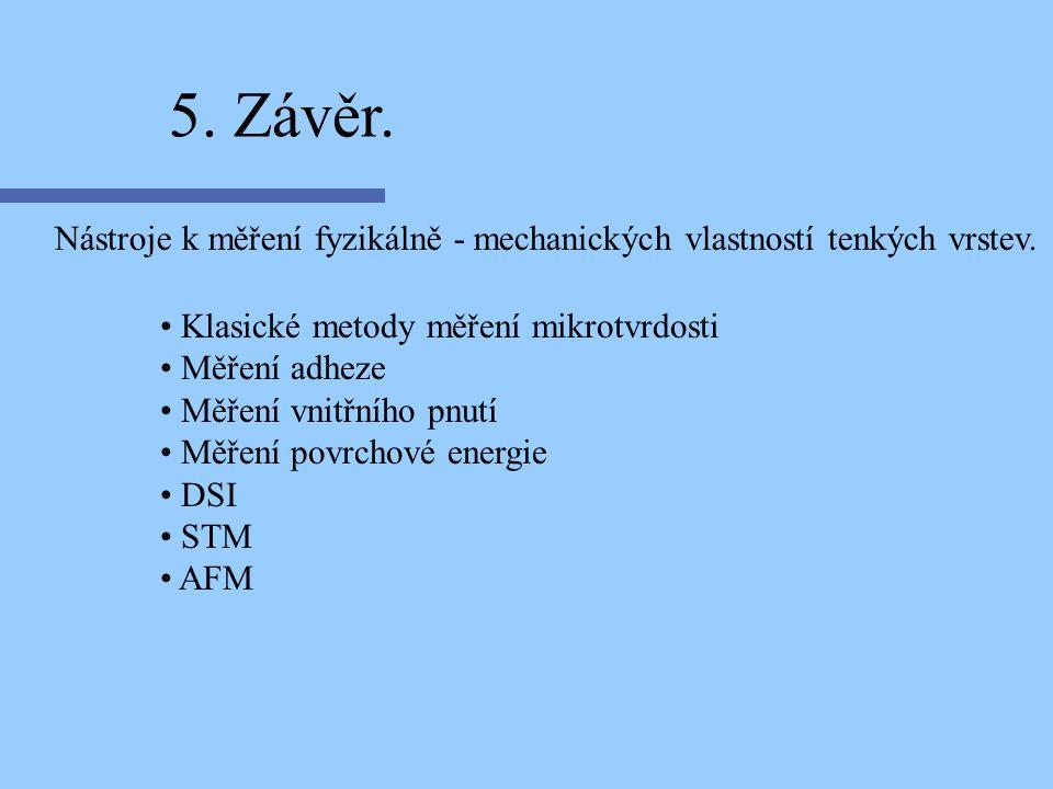 5. Závěr. Nástroje k měření fyzikálně - mechanických vlastností tenkých vrstev. Klasické metody měření mikrotvrdosti.