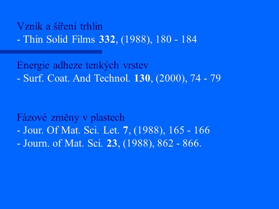 Vznik a šíření trhlin - Thin Solid Films 332, (1988), 180 - 184 Energie adheze tenkých vrstev - Surf. Coat. And Technol. 130, (2000), 74 - 79