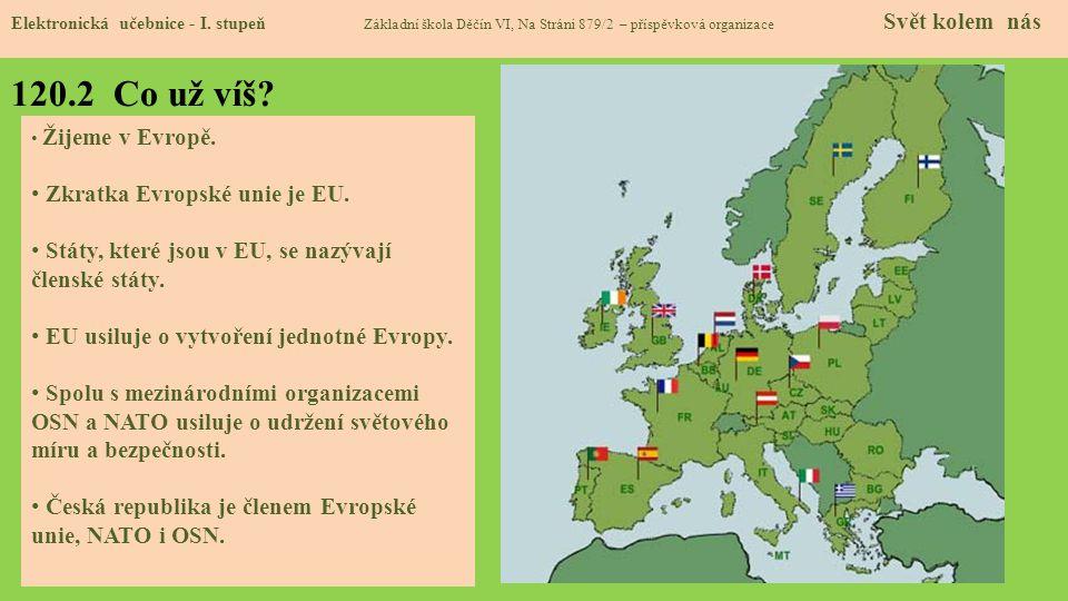 120.2 Co už víš Zkratka Evropské unie je EU.