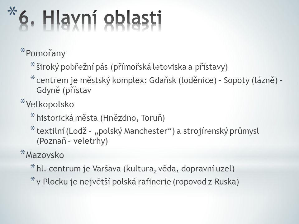 6. Hlavní oblasti Pomořany Velkopolsko Mazovsko