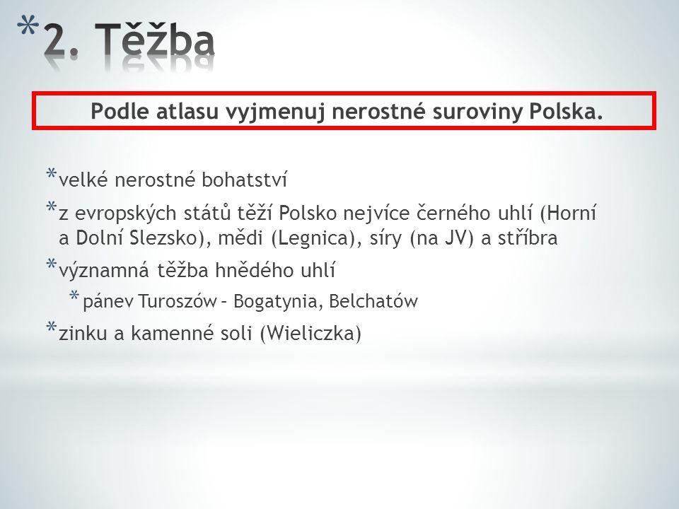 Podle atlasu vyjmenuj nerostné suroviny Polska.