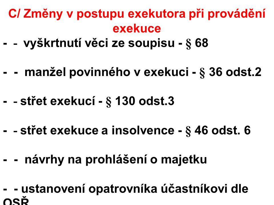 C/ Změny v postupu exekutora při provádění exekuce