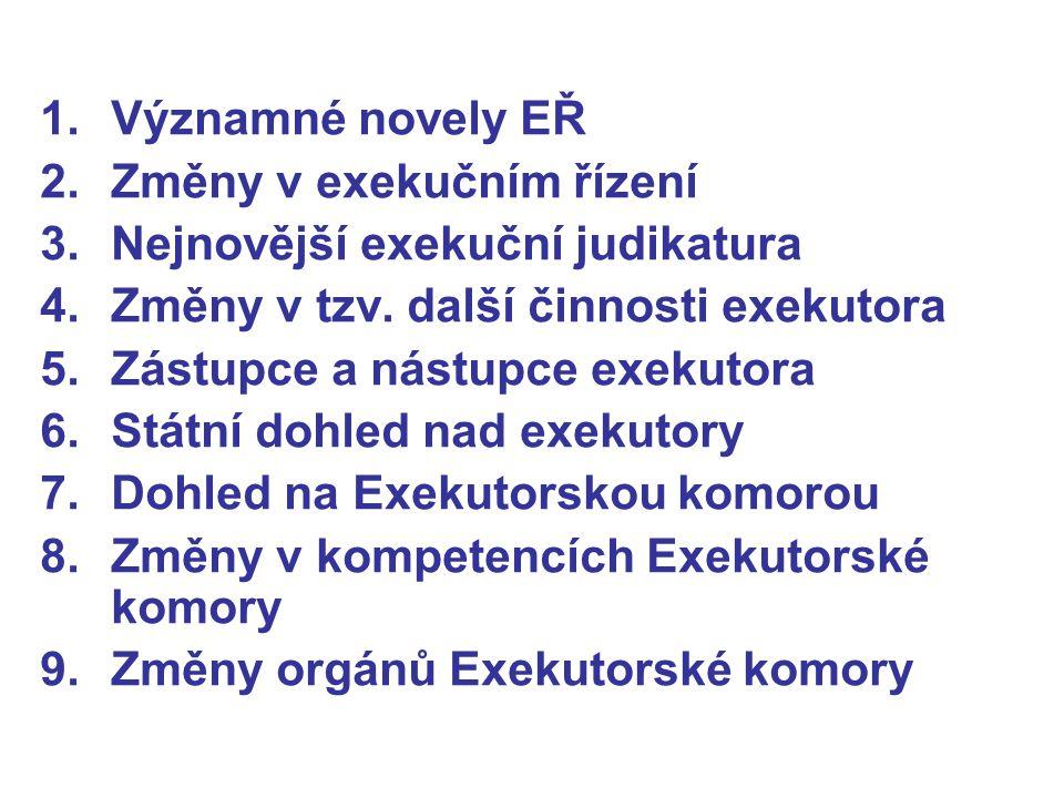 Významné novely EŘ Změny v exekučním řízení. Nejnovější exekuční judikatura. Změny v tzv. další činnosti exekutora.