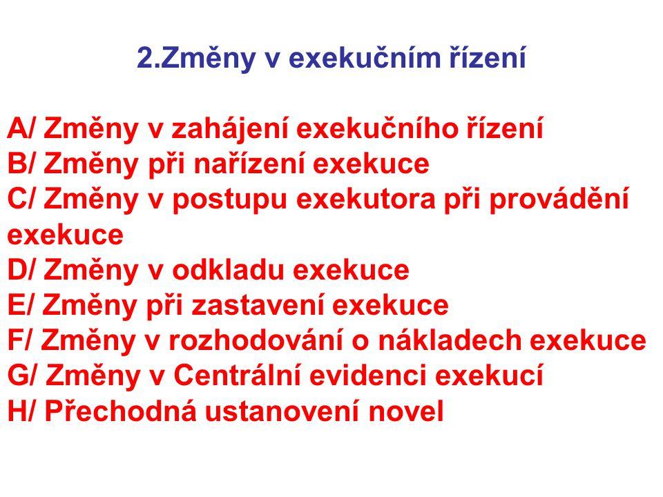 2.Změny v exekučním řízení
