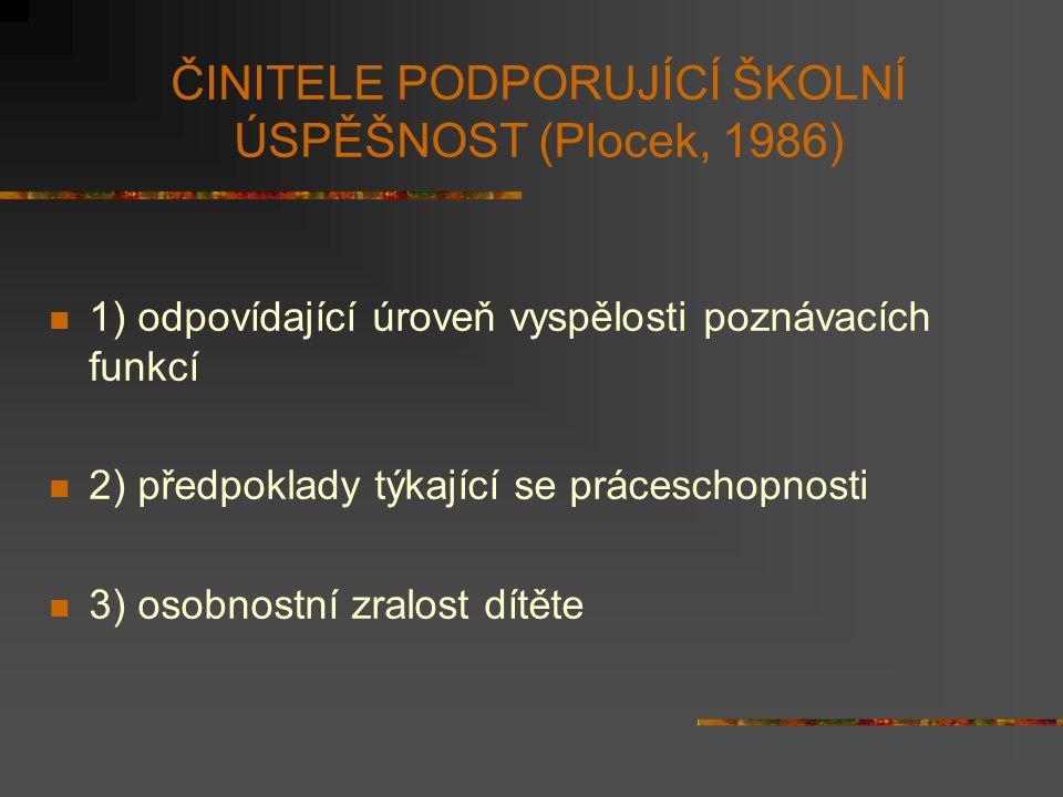 ČINITELE PODPORUJÍCÍ ŠKOLNÍ ÚSPĚŠNOST (Plocek, 1986)