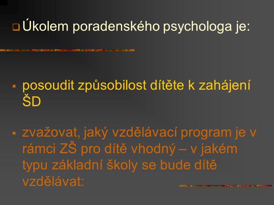 Úkolem poradenského psychologa je: