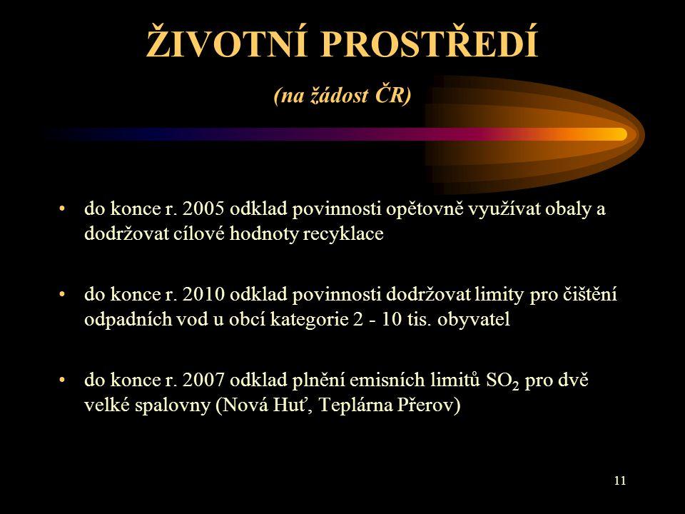 ŽIVOTNÍ PROSTŘEDÍ (na žádost ČR)
