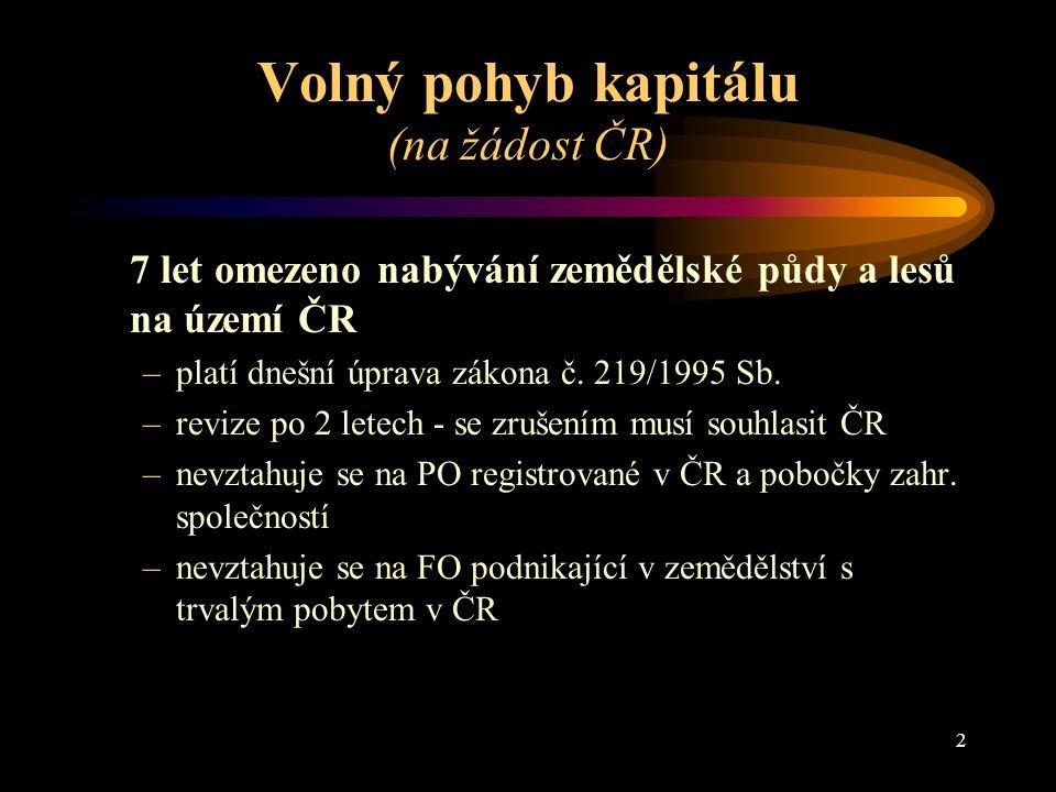 Volný pohyb kapitálu (na žádost ČR)