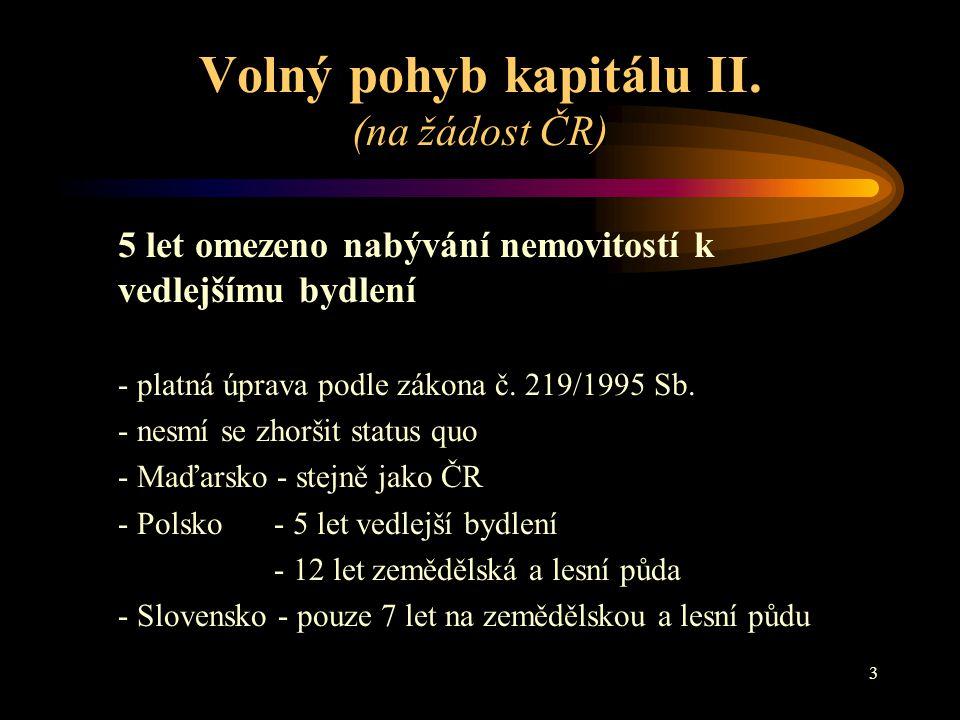 Volný pohyb kapitálu II. (na žádost ČR)