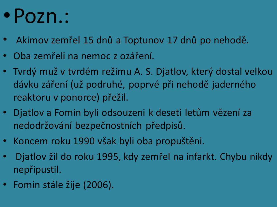 Pozn.: Akimov zemřel 15 dnů a Toptunov 17 dnů po nehodě.
