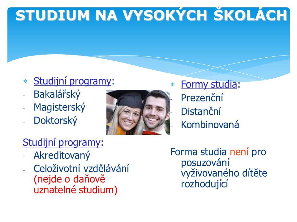 STUDIUM NA VYSOKÝCH ŠKOLÁCH