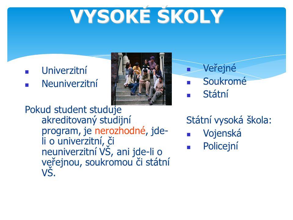 VYSOKÉ ŠKOLY Veřejné Univerzitní Soukromé Neuniverzitní Státní