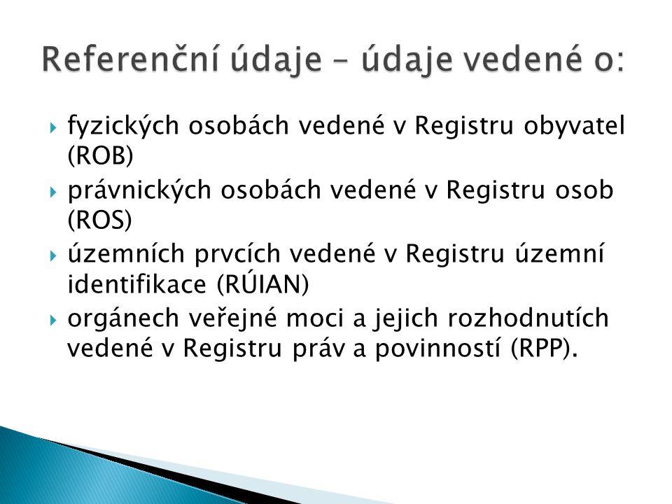Referenční údaje – údaje vedené o: