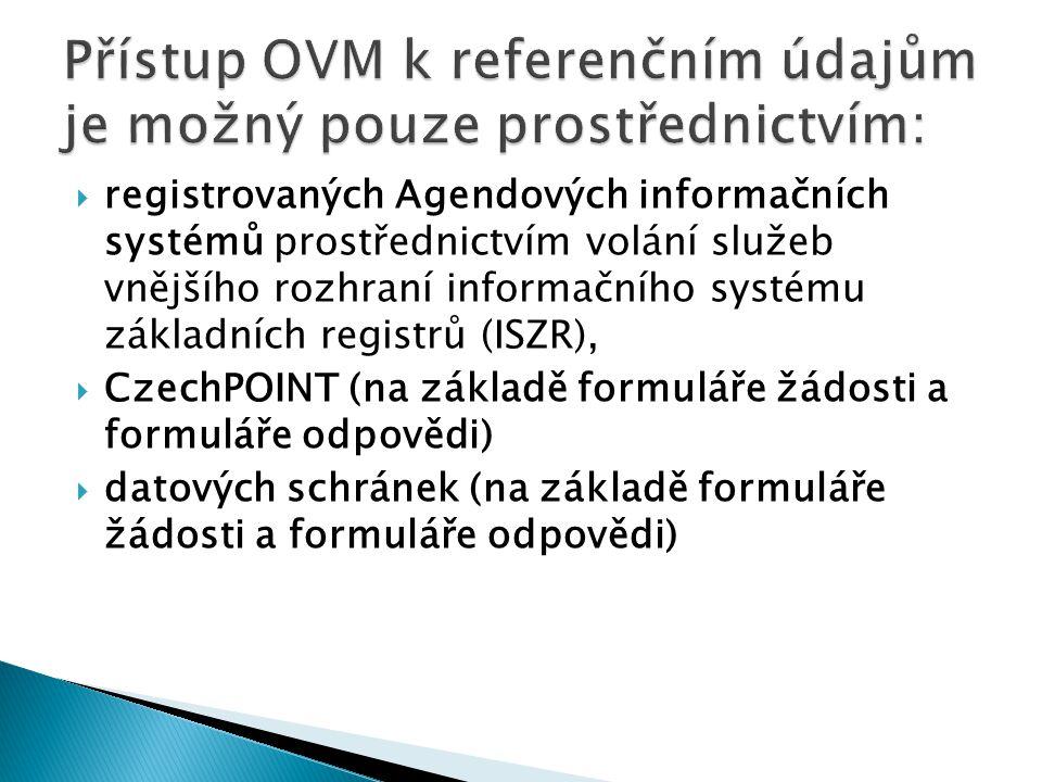 Přístup OVM k referenčním údajům je možný pouze prostřednictvím: