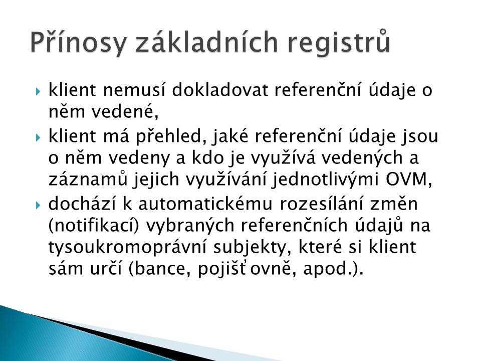 Přínosy základních registrů